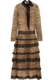 Lace-trimmed leopard-print silk-crepon midi dress