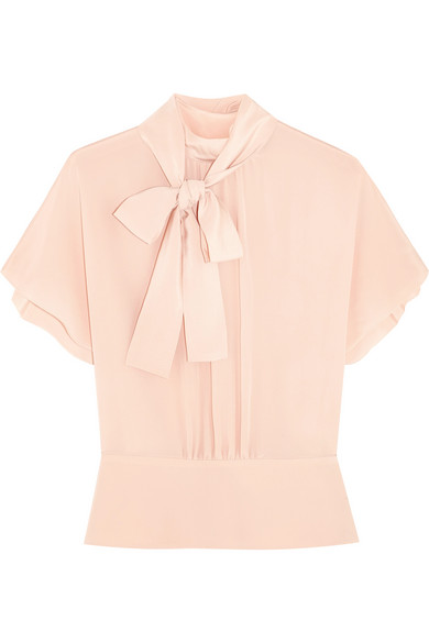 REDValentino - Pussy-bow Silk Crepe De Chine Blouse - Blush