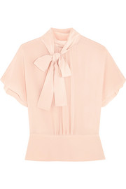 REDValentino Pussy-bow silk crepe de chine blouse