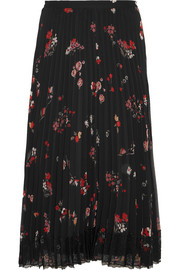 Pleated floral-print chiffon skirt