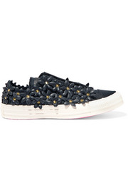 Converse + PatBo Chuck Taylor All Star faux leather appliquéd canvas sneakers