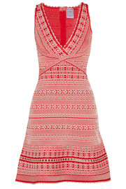 Hervé Léger Stretch jacquard-knit mini dress