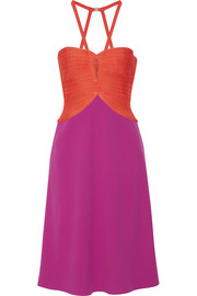 Hervé Léger Cutout two-tone bandage-paneled crepe dress