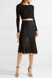Ribbed-knit and bandage skirt