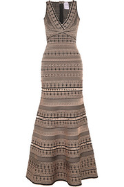 Hervé Léger Stretch jacquard-knit gown