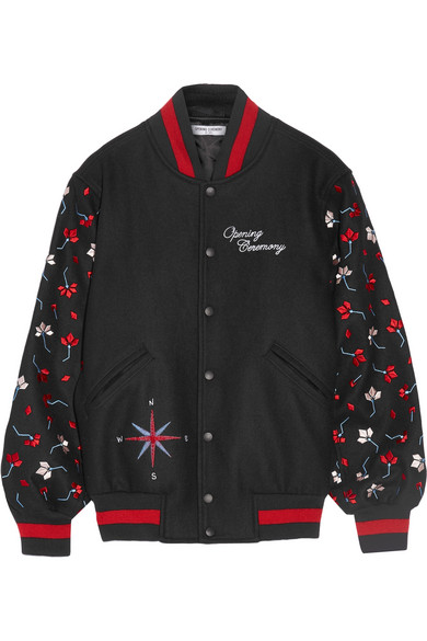 Opening Ceremony - Embroidered Wool-blend Bomber Jacket - Black