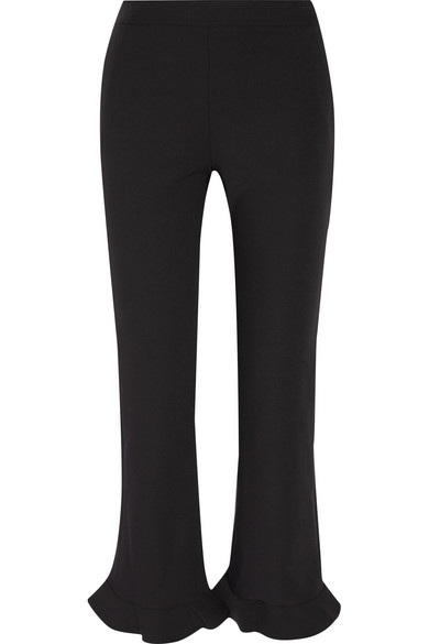 William ruffle-trimmed stretch-crepe straight-leg pants