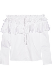 Opening Ceremony Mercer ruffled off-the-shoulder stretch cotton-poplin top