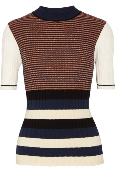 Opening Ceremony - Striped Metallic Ribbed-knit Sweater - Navy