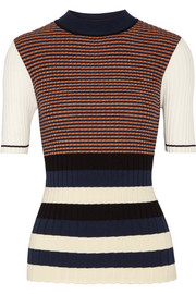 Opening Ceremony Striped metallic ribbed-knit sweater