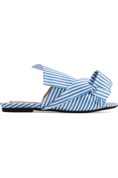 No. 21 - Knotted Striped Satin Sandals - Blue