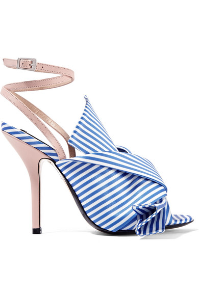 No. 21 - Knotted Striped Satin And Leather Sandals - Blue