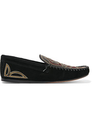 Finha embroidered leather and suede loafers