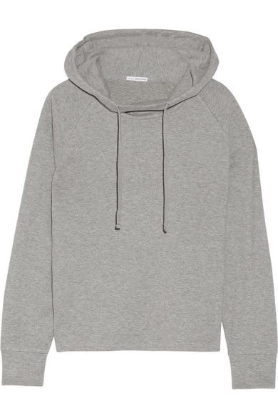 james perse female james perse cottonblend jersey hooded top gray