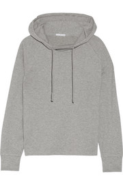 Cotton-blend jersey hooded top