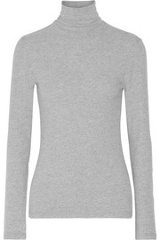 James Perse Brushed cotton-blend jersey turtleneck top