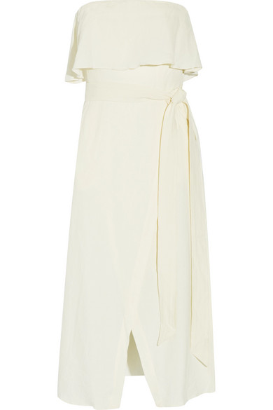Vix - Ruffled Linen-blend Voile Midi Dress - Cream