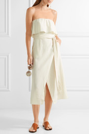 Vix Ruffled linen-blend voile midi dress