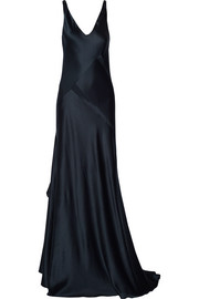 Paneled silk-satin gown