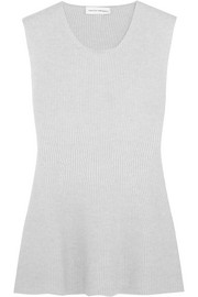 Ribbed wool and cashmere-blend peplum top
