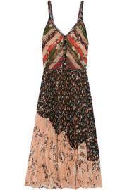 Pleated printed crinkled-chiffon dress
