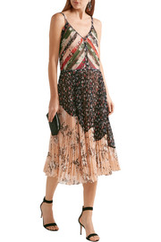 Jason Wu Pleated printed crinkled-chiffon dress