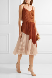 Jason Wu Two-tone pleated crinkled-chiffon midi dress