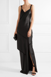 Crepe-paneled silk-satin gown