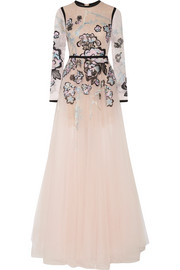 Elie Saab Metallic embroidered lace and tulle gown