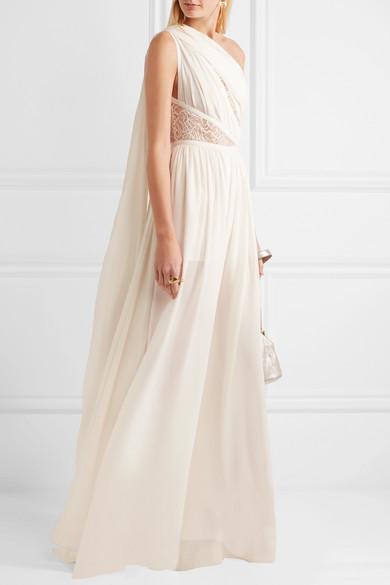 60e988347b94 Elie Saab. One-shoulder lace-paneled silk-blend crepe jumpsuit