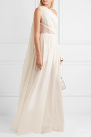 One-shoulder lace-paneled silk-blend crepe jumpsuit
