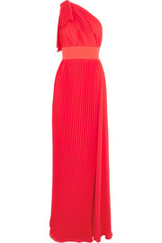 One-shoulder plissé-georgette gown