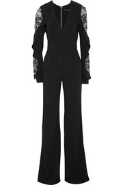 Lace-paneled ruffled stretch-cady jumpsuit