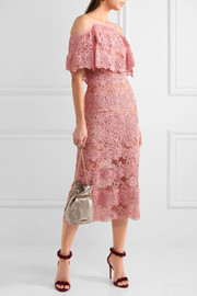 Off-the-shoulder cotton-blend macramé lace dress