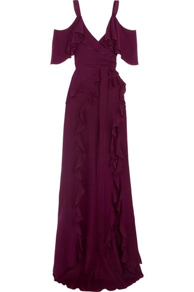 Elie Saab - Ruffled Silk Crepe De Chine Maxi Dress - Plum