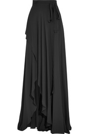 Elie Saab Fluted silk-georgette wrap maxi skirt
