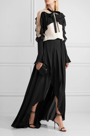 Fluted silk-georgette wrap maxi skirt