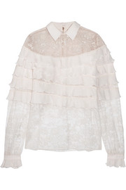 Elie Saab Ruffled georgette and lace blouse