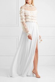Fluted silk-georgette maxi skirt