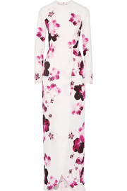 Wrap-effect floral-print crepe gown