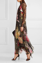 Floral-print silk-chiffon and crepe de chine gown