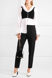 Lanvin Satin-trimmed cropped canvas slim-leg pants