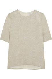 Silk-blend textured-lamé top