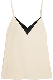 Satin-trimmed crepe camisole