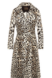 Roberto Cavalli Leopard-print cotton-twill trench coat