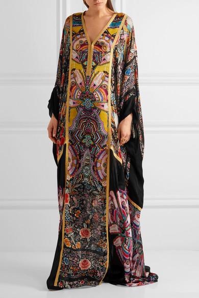 Roberto Cavalli | Metallic-trimmed printed silk-chiffon maxi dress ...
