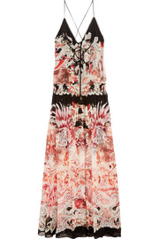Phoenix printed silk-georgette gown