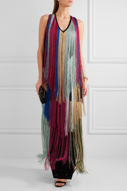 Roberto Cavalli Fringed knitted gown