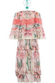 Roberto Cavalli Phoenix off-the-shoulder plissé printed silk-chiffon gown