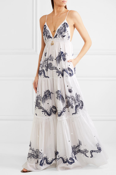 Roberto Cavalli | Embroidered cotton-voile maxi dress | NET-A ...
